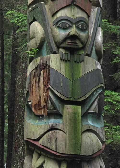 damage to totem pole, Kasaan Totem Park, Kasaan, Alaska