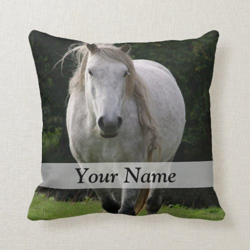 Cute pony photograph throw pillows