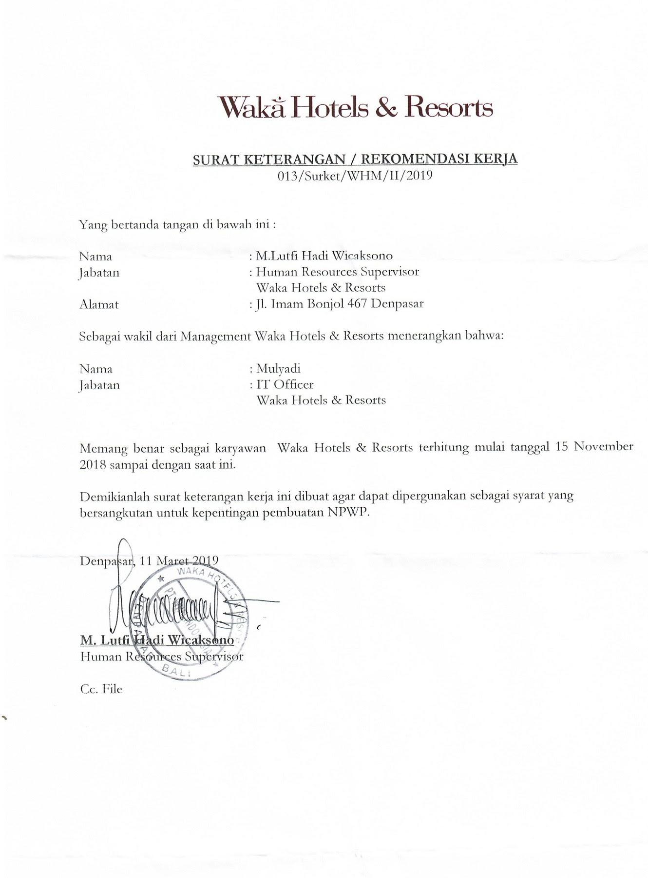 Surat Keterangan Kerja Untuk Pengurusan Npwp - Contoh ...