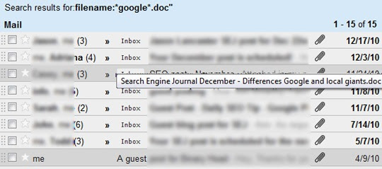 Gmail search results