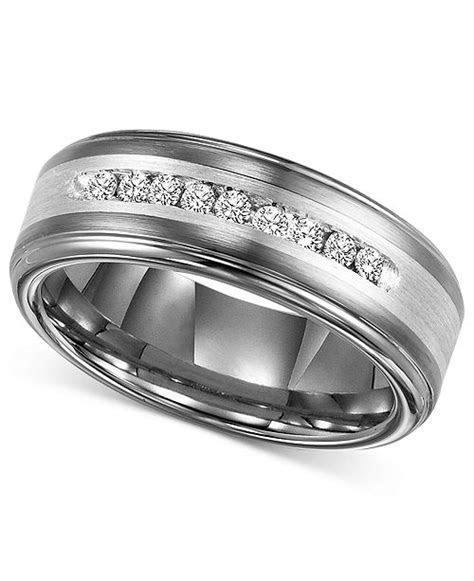 Triton Men's Diamond Wedding Band in Tungsten Carbide (1/4