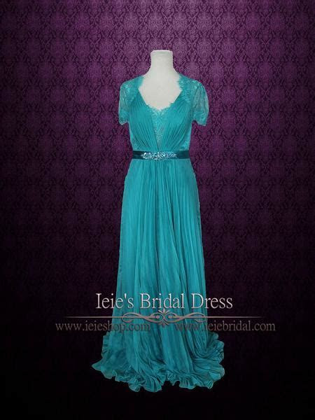 Teal Grecian Lace V neck Formal Prom Evening Dress with