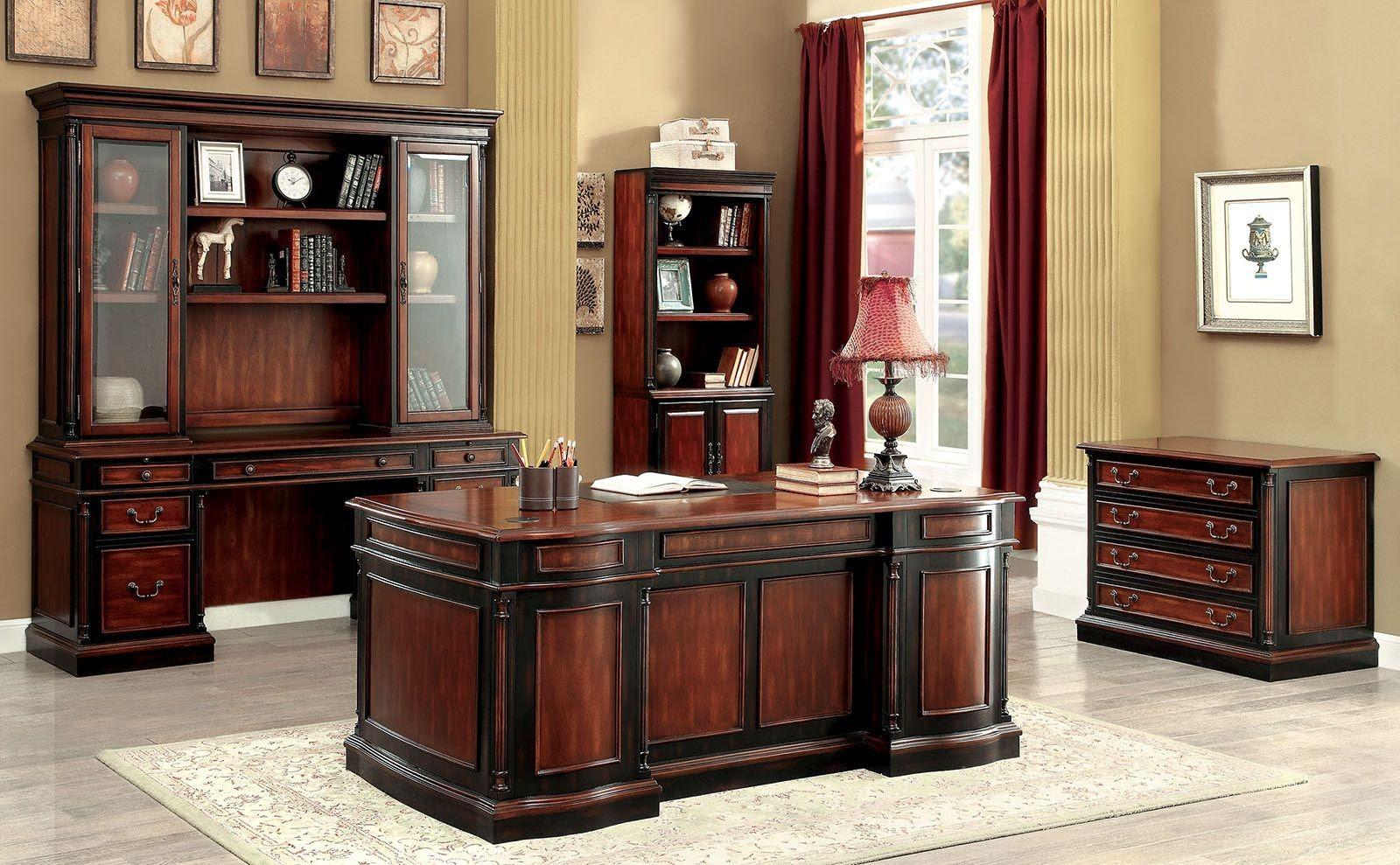 Strandburg Cherry and Black Home Office Set, CM-DK6255D ...