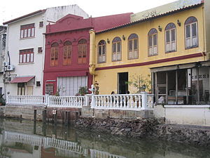 Buildings on the Melaka River at Melaka, Malay...