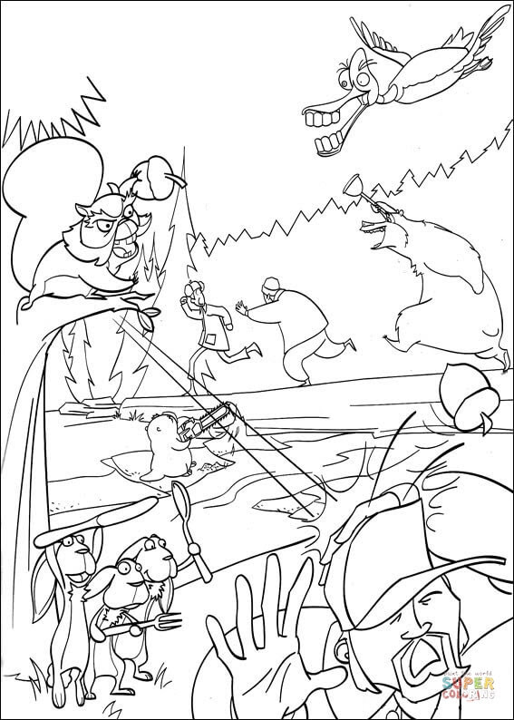 Dibujo De El Animales Huyen Del Cazador Para Colorear Dibujos Para
