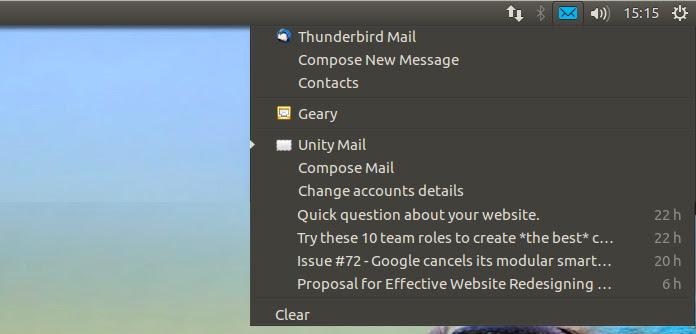 mensagens de e-mail menu de unidade