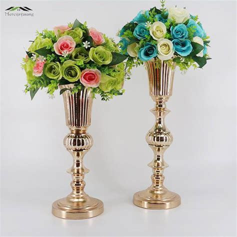 40CM Gold Tabletop Vase Metal Wedding Flower Vase Table