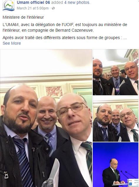 """Résultat de recherche d'images pour """"selfie de Bernard Cazeneuve  en compagnie d'Amar Lasfar"""""""