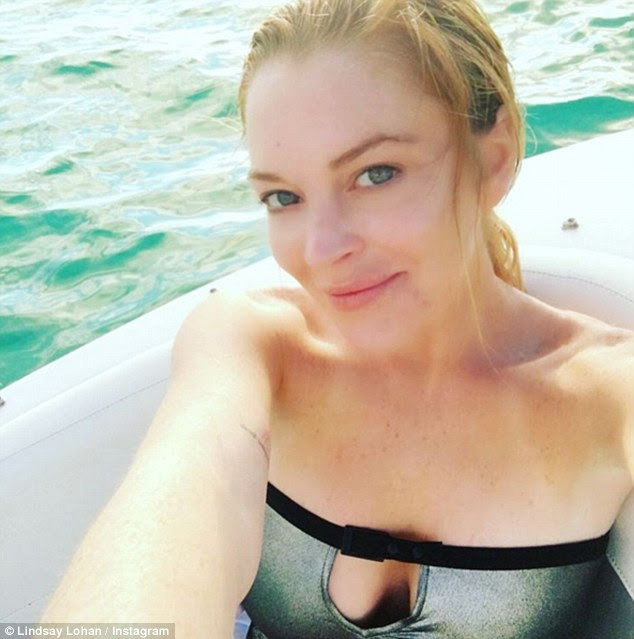 Holiday wardrobe:Two days earlier the actress shared another selfie from the same spot, this time rocking a metallic silver strapless bikini