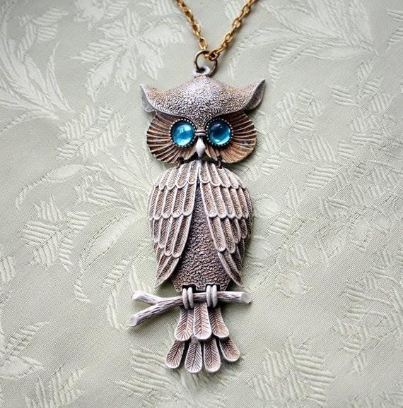 Awesome Large Owl Pendant Necklace with Aqua Eyes