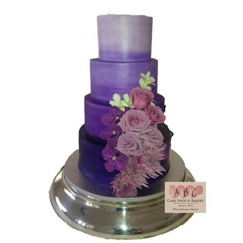 (1753) 4 Tier Shades of Purple Wedding Cake   ABC Cake