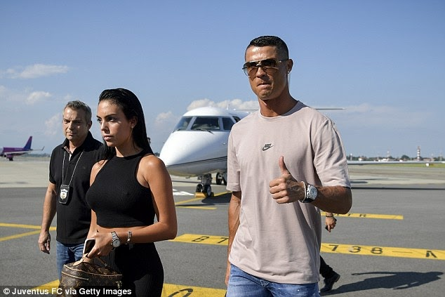 FRESH!!! Cristiano Ronaldo Arrives Italy With Family Ahead Of Juventus Unveiling (Photos)
