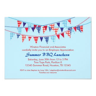 "Corporate Summer BBQ Invitation 5"" X 7"" Invitation Card"