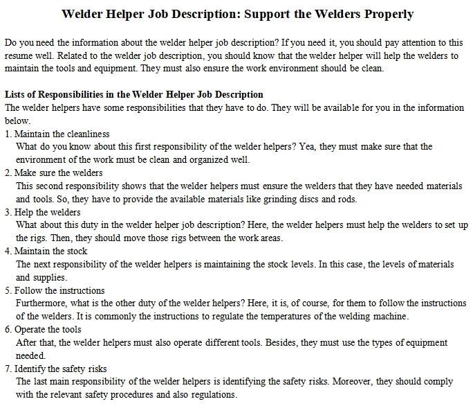 Welder Helper Job Description Support The Welders Properly Room Surf Com