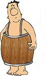 4162-Naked-Man-Wearing-A-Wooden-Barrel-Around-His-Waist-Clipart