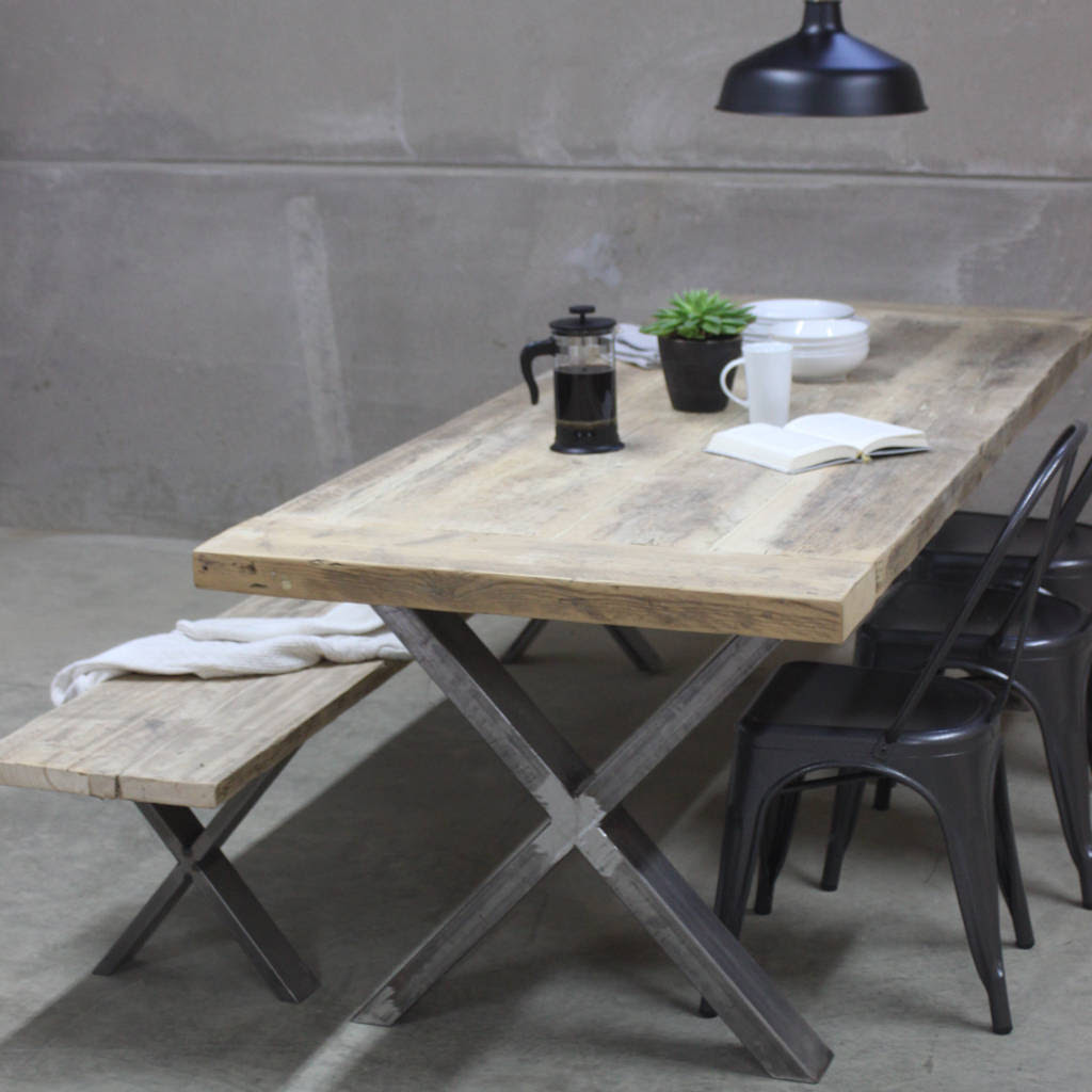 xavier reclaimed wood dining table with steel x frame by ...
