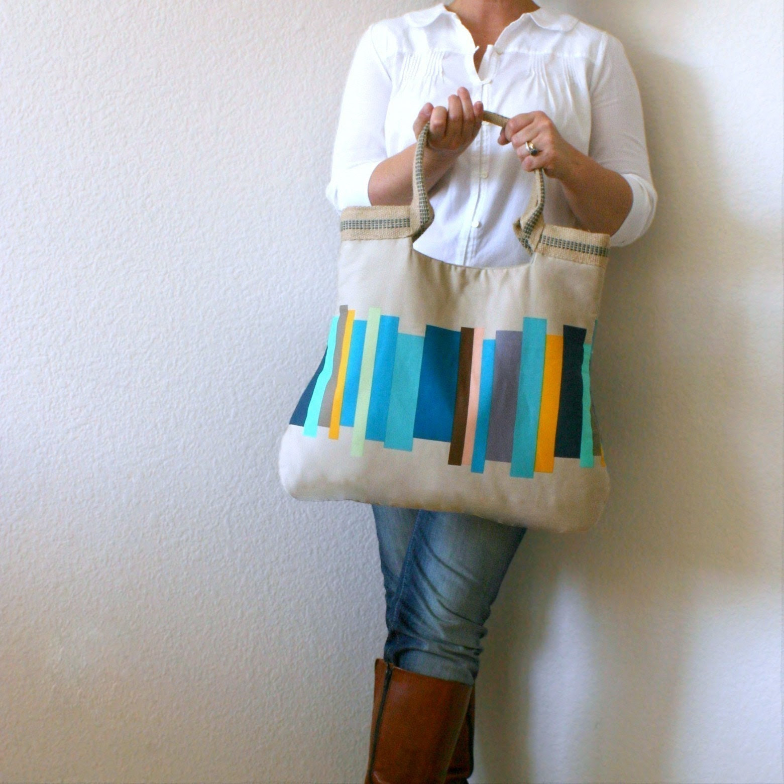 drikab teal stripes jute basic tote