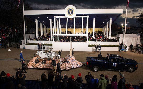 A full-size replica of NASA's Curiosity Mars rover passes by the Presidential viewing stand during the Inaugural Parade on January 21, 2013.