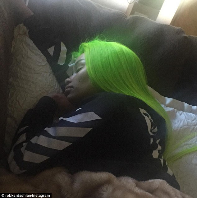 Asleep: Rob Kardashian, 28, remains committed to his new love interest Blac Chyna, and made it very clear how he felt about the criticism on Thursday