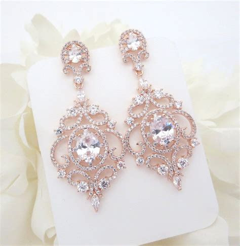 Rose Gold Bridal earrings, Rose Gold Chandelier earrings