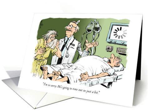 Amusing knee surgery feel better doctor & patient cartoon card