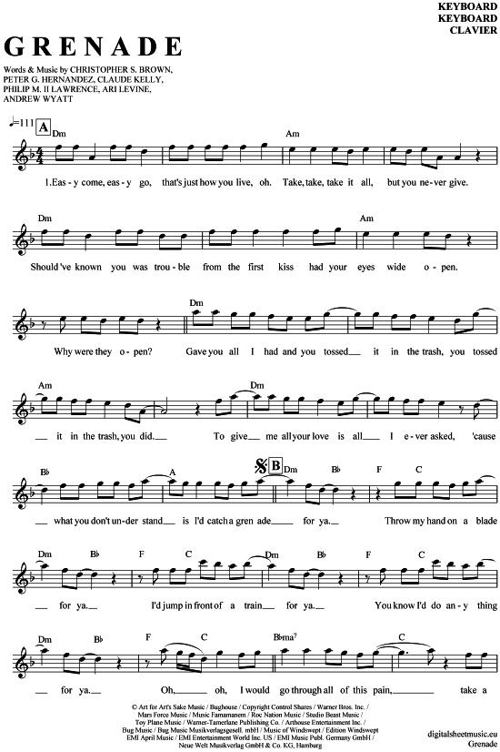 grenade keyboard bruno mars pdf noten  malvorlagen