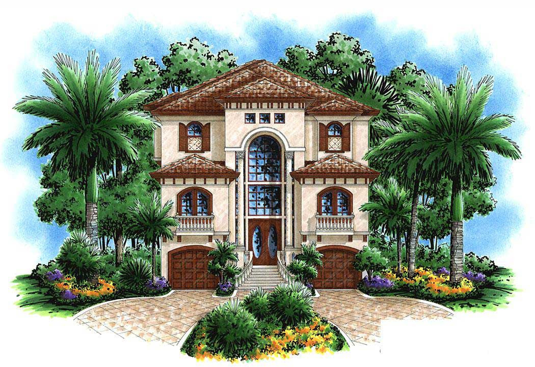 Florida Style House Plan 4 Bedrms, 3 Baths 3763 Sq Ft 1751036 - Traditional House Plans Garage W/Shop 20139 Associated Designs