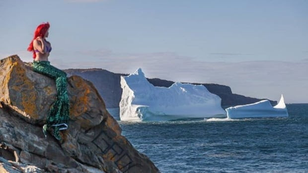 Kit Sora, the photographer behind the Frozen-themed photoshoot this winter at Middle Cove, got out from behind the lens to model as Ariel near the giant iceberg spotted near Torbay earlier this month.