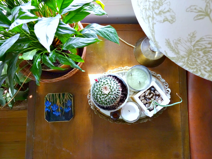 side table styling in the living room