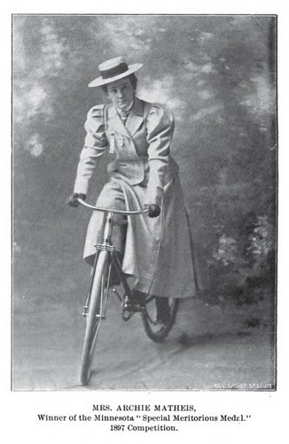 Champion woman cyclist, 1897 - Mrs. Matheis