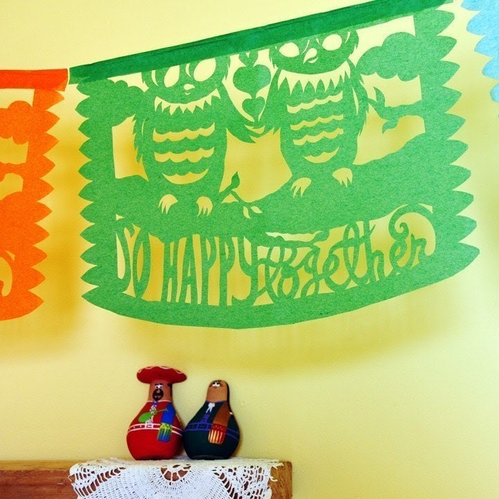 SO HAPPY TOGETHER Custom Color Papel Picado (Mexican cut-paper banners)