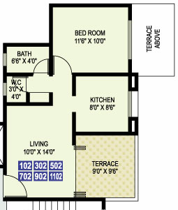 1 BHK Flat 399 Carpet + Terrace C & D Buildings Odd Floors for Rs. 32.76 Lakhs Livogue Hadapsar Pune