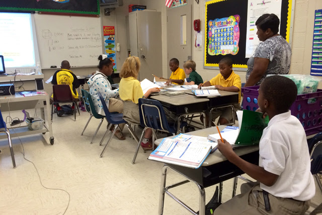 Fourth grade math teacher Adelia Weatherspoon teaches her class Common Core math at Higgins Middle School in McComb.