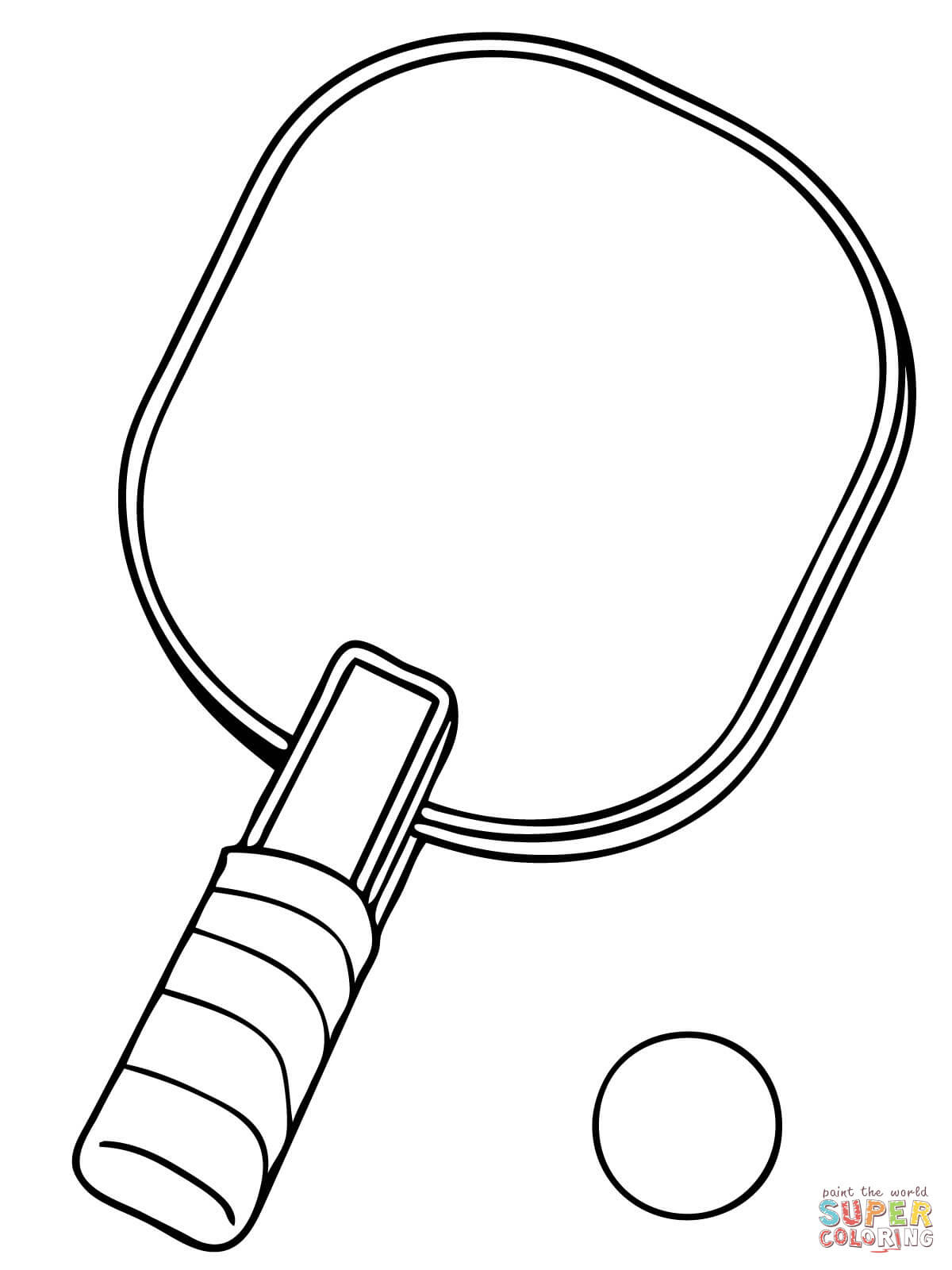 Dibujo De Paleta Y Pelota De Tenis De Mesa Para Colorear Dibujos