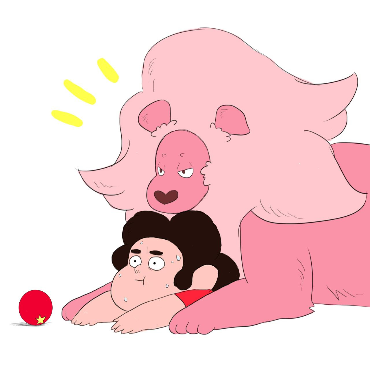Steven tried to play with Lion, but it didn't work out the way he thought/ He's scared he might never escape.