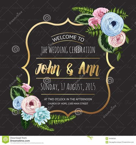 Wedding Invitation Card With Painted Flowers Stock Photo