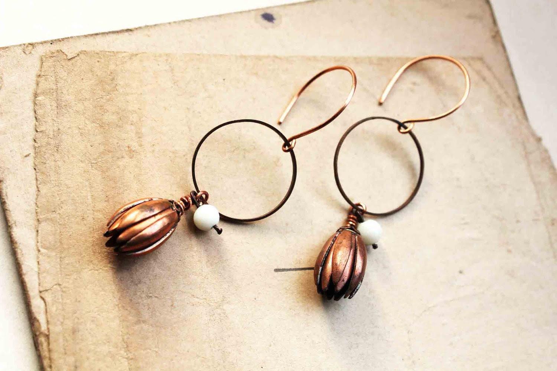 Moon flower earrings - burnt orange and milk glass bead