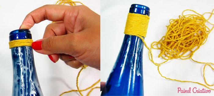 passo a passo centro de mesa festa junina garrafa de vidro decorada  barbante recicalgem (2)