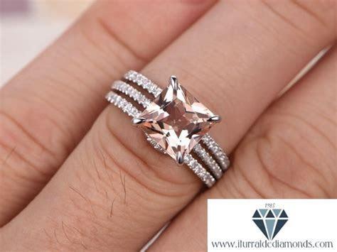 8mm Princess Cut Morganite Engagement Ring Set Double