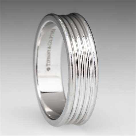 Tiffany & Co. Five Row Band Ring in Platinum, Retail $1800