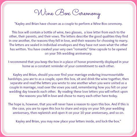 The Wine Box Ceremony { Ceremony Details } ? Grace and