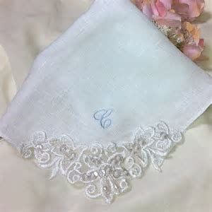 Personalized Linen Handkerchief   Embroidered Wedding