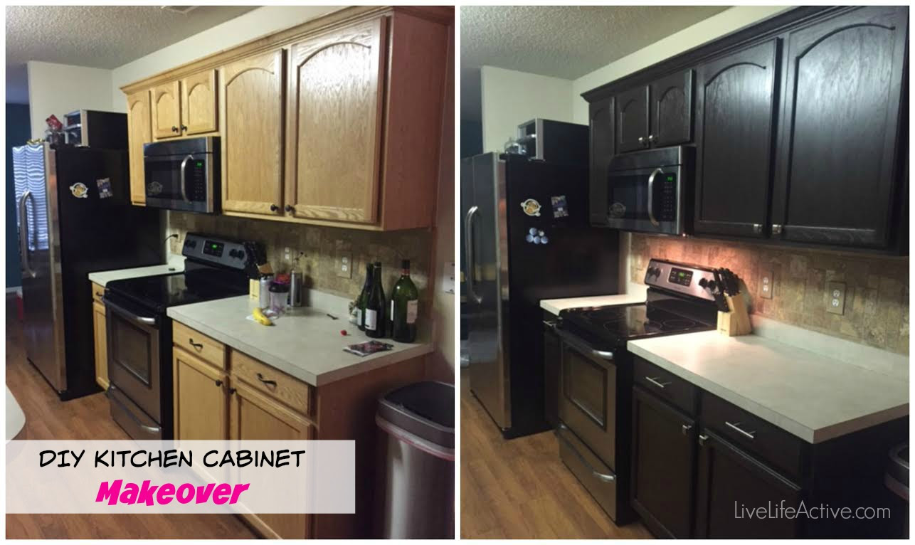 DIY Paiting kitchen cabinets rustoleum expresso kit before and after picture
