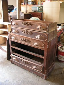 Old Solid Walnut Dresser with Mirror - Before!