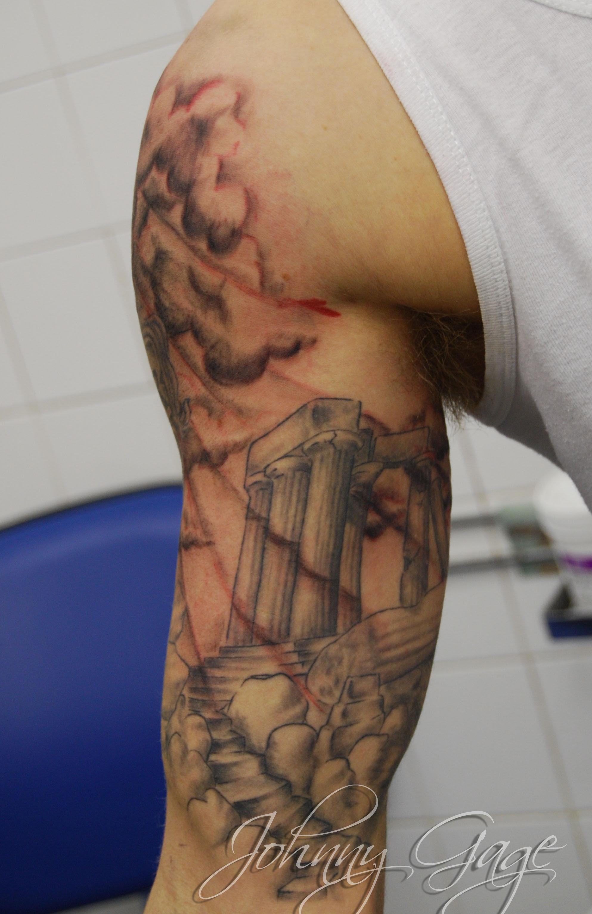 Wonderful Grey Ink Greek Tattoo On Man Right Half Sleeve