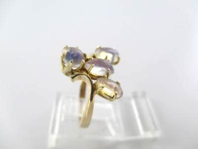 14KT SOLID YELLOW GOLD RING JELLY OPALS SZ 6 WEDDING BAND