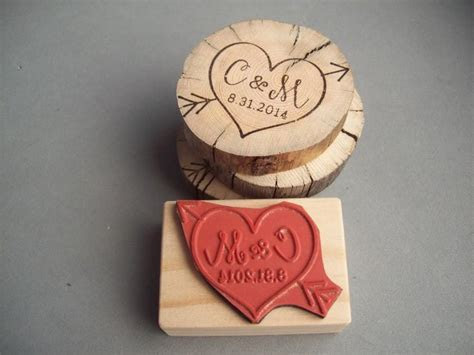 Cupid Heart Arrow Stamp With Personalized Initials And