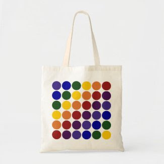 Rainbow Polka Dots on White Bags