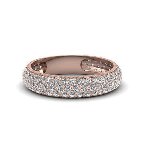Micropave Diamond Wedding Band For Women In 14K Rose Gold