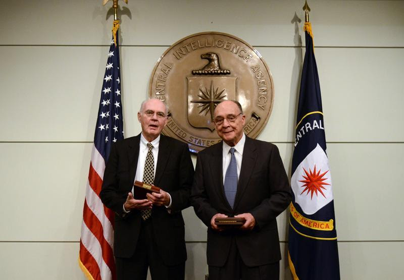 John Downey (left) and Richard Fecteau, who were held prisoner in China, were honored by the CIA last month.